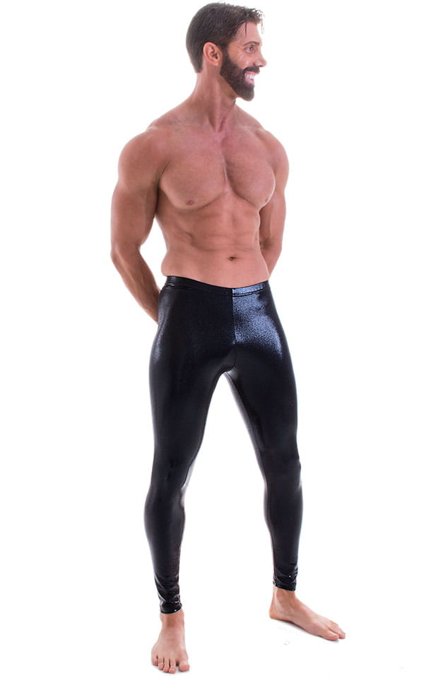 Mens Leggings Tights in Metallic Mystique Black nylon/lycra 1
