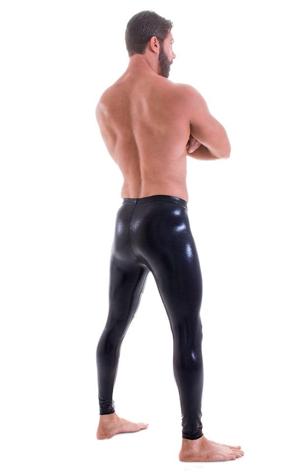 Mens Leggings Tights in Metallic Mystique Black nylon/lycra 3