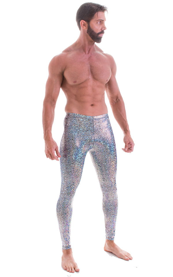 Mens Leggings Tights in Holographic Diamonds 1