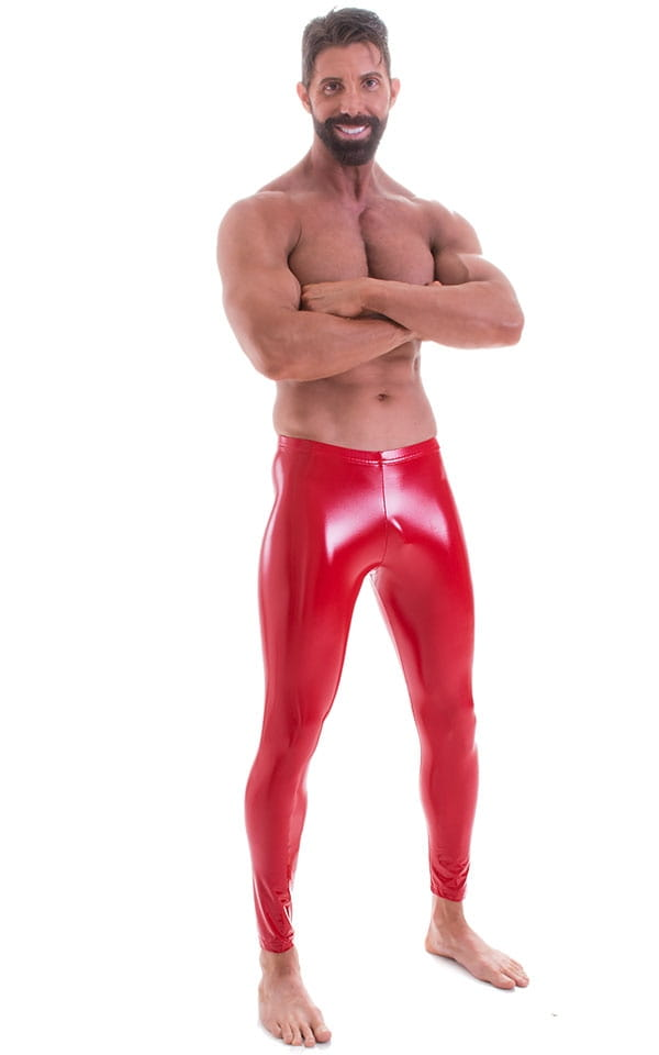 Mens Leggings Tights in Gloss Red Stretch Vinyl 4