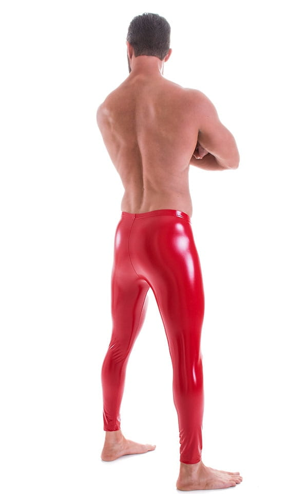 Mens Leggings Tights in Gloss Red Stretch Vinyl 3