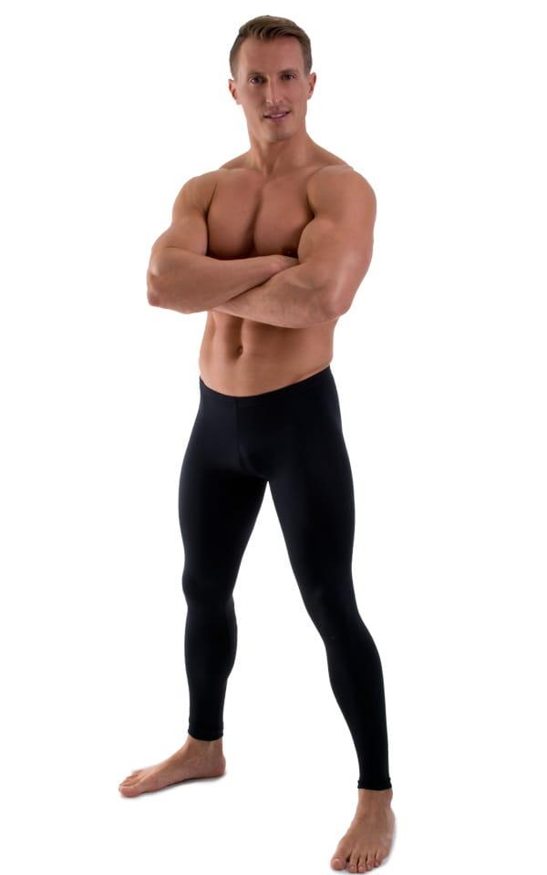 Mens Low Rise Leggings Tights in Black 1