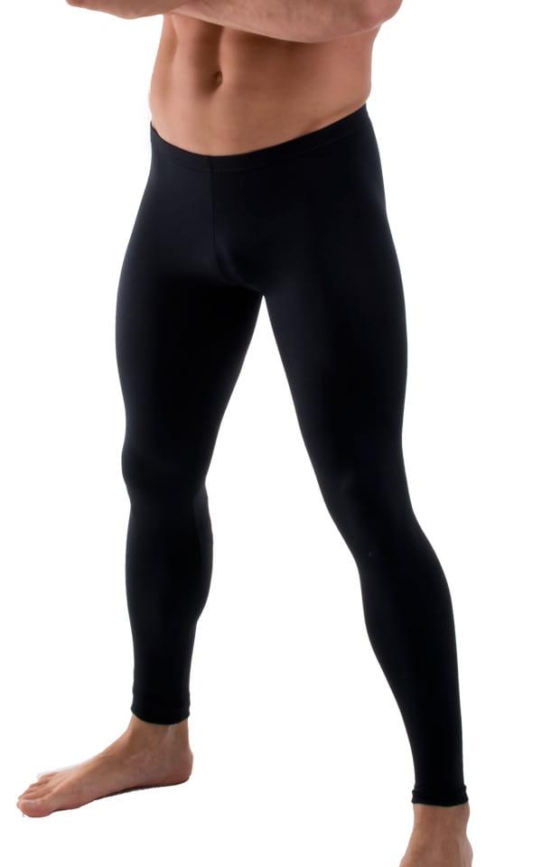 Mens Low Rise Leggings Tights in Black 4