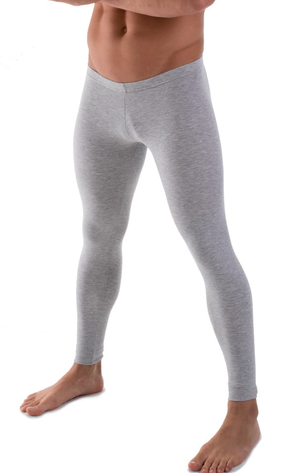 Mens Low Rise Leggings Tights in Heather Grey Cotton-Spandex 10oz 4