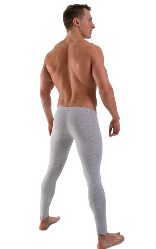 Mens Low Rise Leggings Tights in Heather Grey Cotton-Spandex 10oz 3