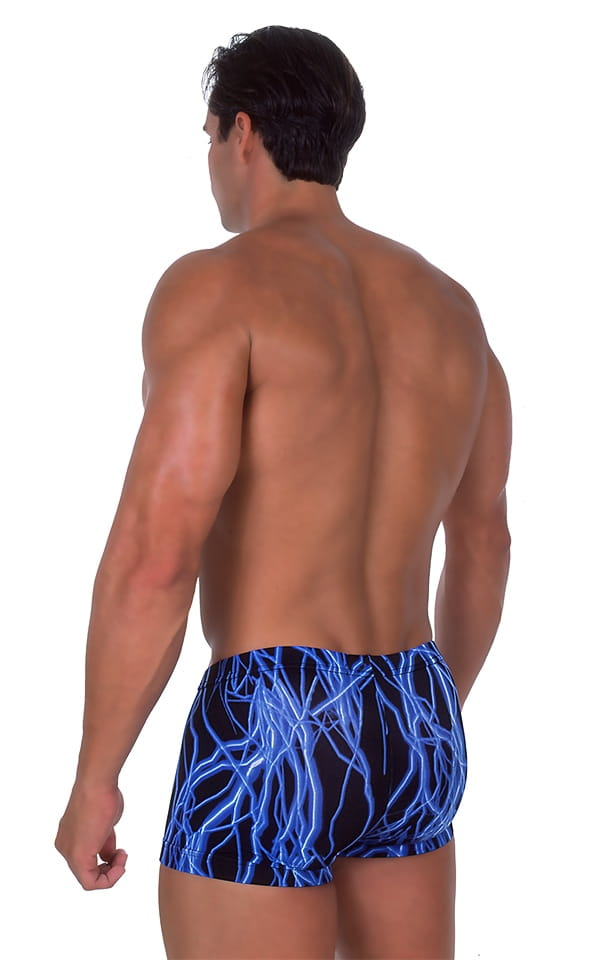 Fitted Pouch - Square Cut - Watersports Swim Trunks in Laser Blue Lightning 3