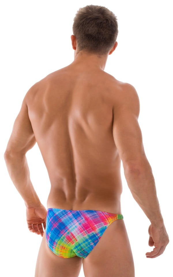 Fitted Bikini Bathing Suit in Semi Sheer ThinSkinz Diagonal Plaid 3