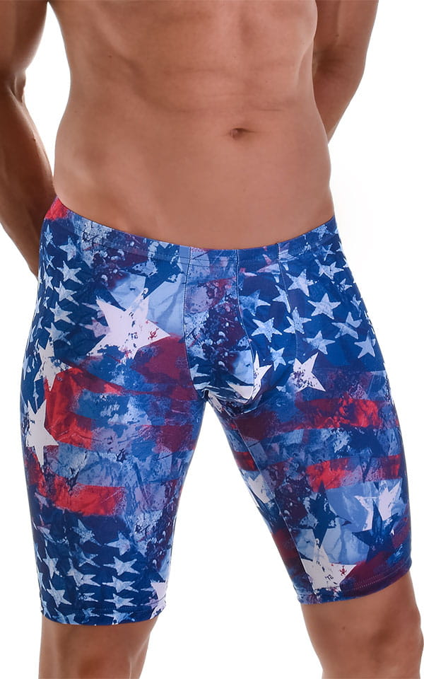 Fitted Pouch Lycra Shorts in American Flag Collage 4