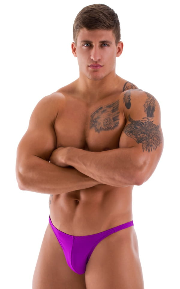 purple bodybuilding posing suit front