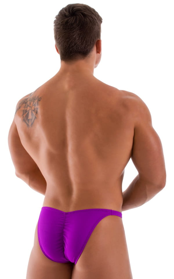 purple bodybuilding posing suit back