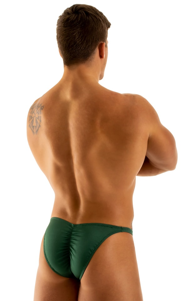 Fitted Pouch - Puckered Back - Posing Suit in Hunter Green 3