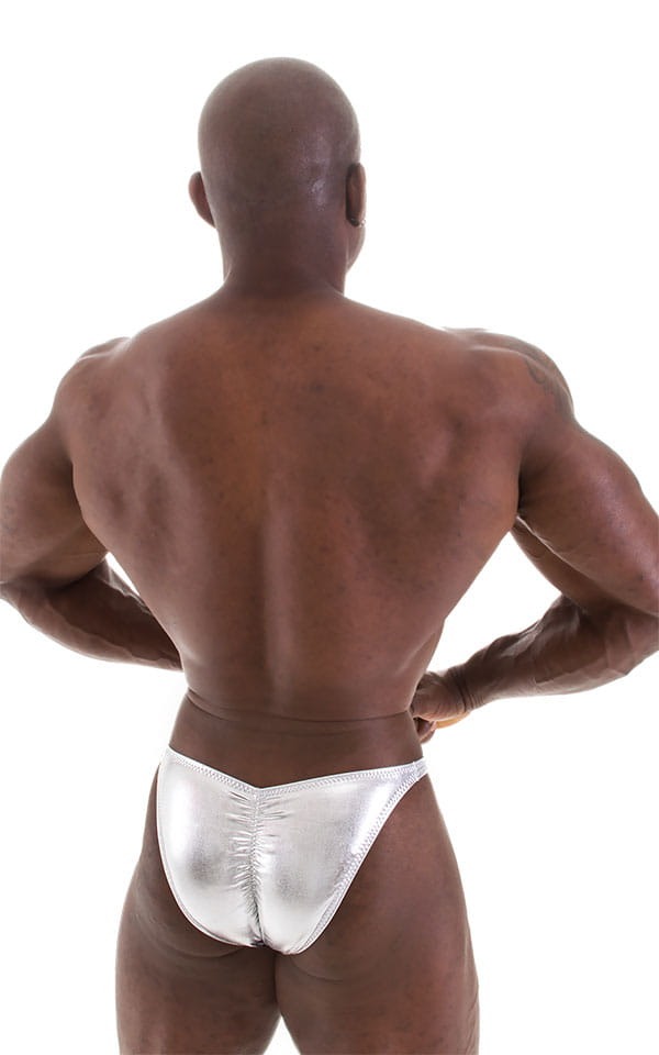 Fitted Pouch - Puckered Back - Posing Suit in Metallic Liquid Chrome 6
