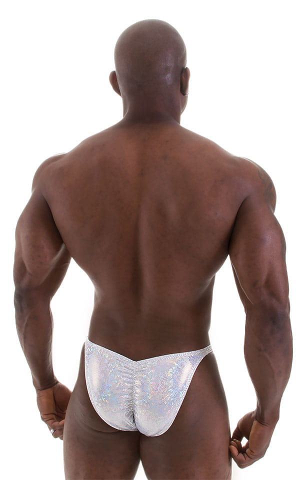 Fitted Pouch - Puckered Back - Posing Suit in Holographic White Silver 6