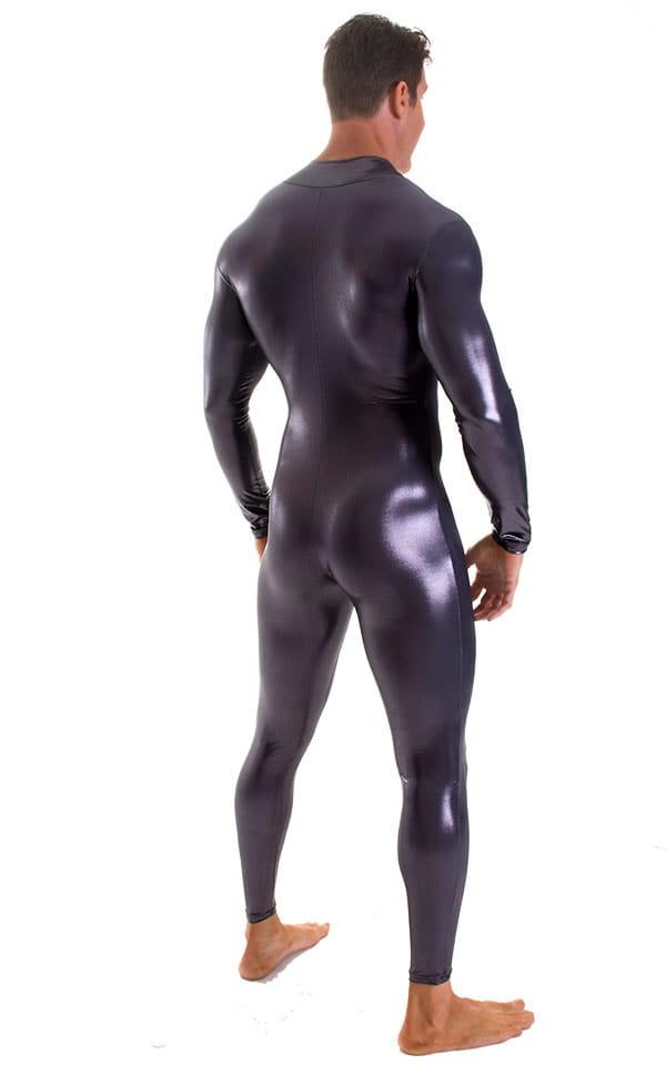 Full Bodysuit Zentai Lycra Spandex Suit for men in Metallic Black Ice 2