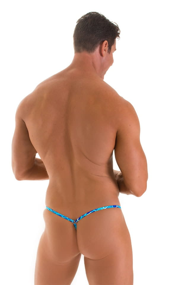 Stuffit Pouch G String Swimsuit in New World Blue 2