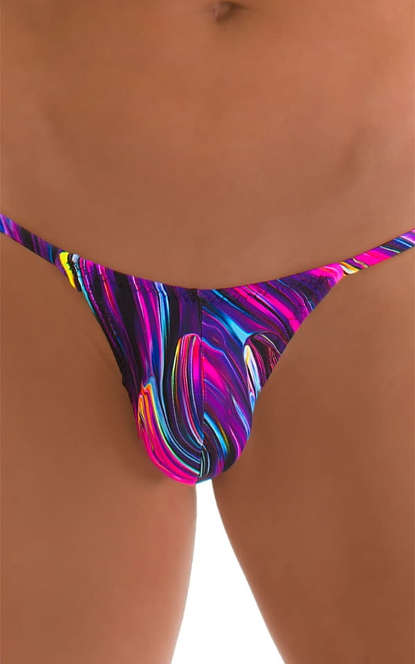 Stuffit Pouch G String Swimsuit in Gravity Wave 3