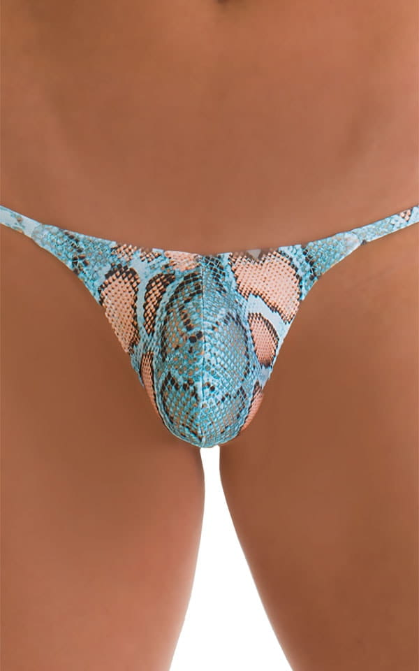 Stuffit Pouch G String Swimsuit in Super ThinSKINZ Turquoise Python 3