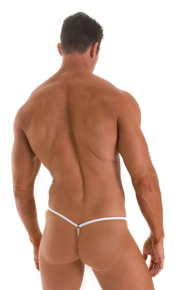 Stuffit Pouch G String Swimsuit in Semi SHEER White PowerNet nylon/lycra 3