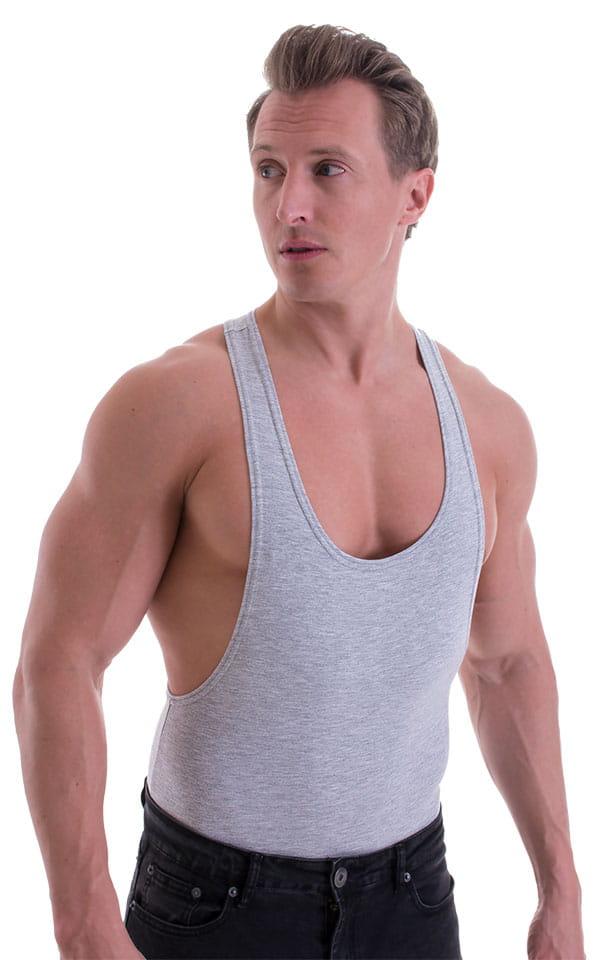 String Tank Gym Tee in Heather Grey cotton-lycra 1
