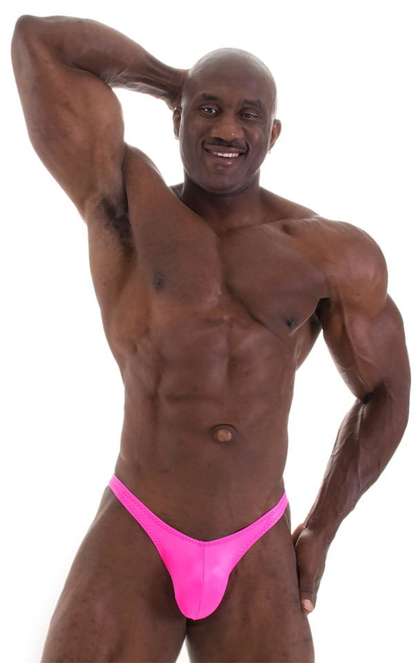 Posing Suit - Fitted Pouch - Puckered Back in Wet Look Hot Pink 6