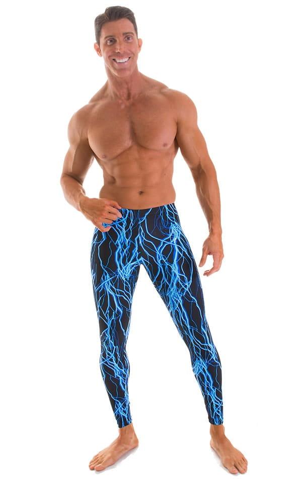 Mens Leggings Tights in Blue Lightning on Black 1