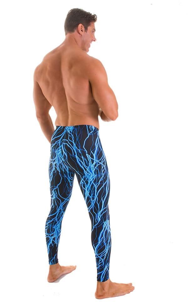 Mens Leggings Tights in Blue Lightning on Black 3