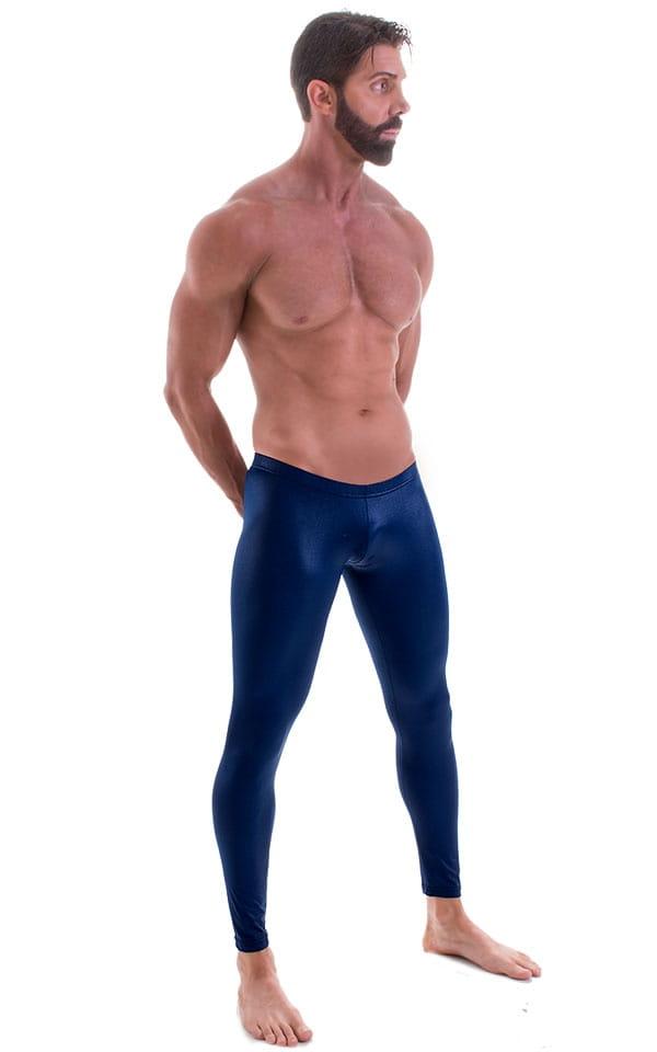 Mens SUPER Low Leggings Tights in Wet Look Navy Blue 1