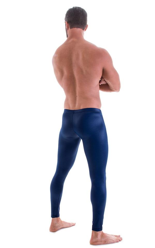 Mens SUPER Low Leggings Tights in Wet Look Navy Blue 3