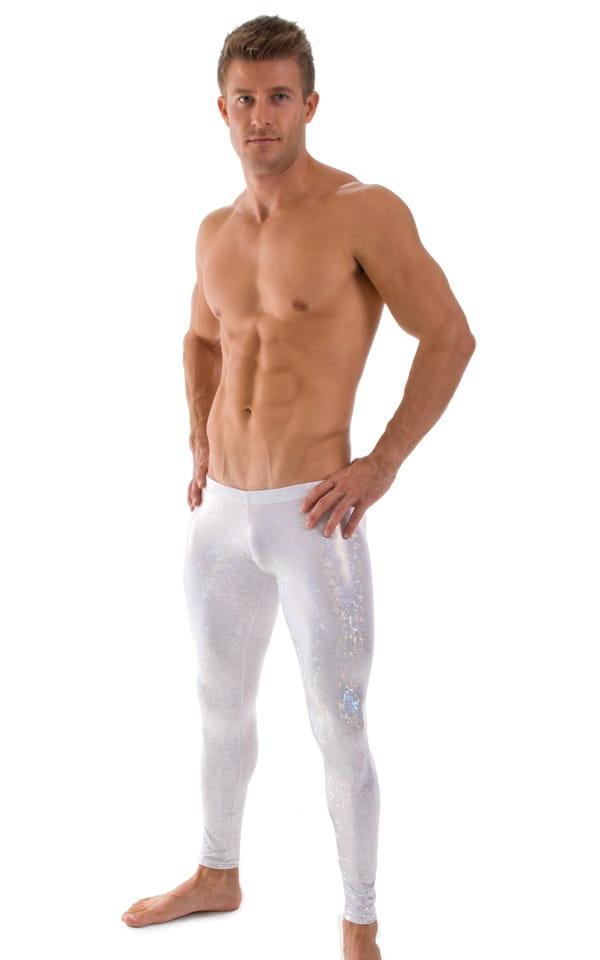 Mens SUPER Low Leggings in Metallic White 1