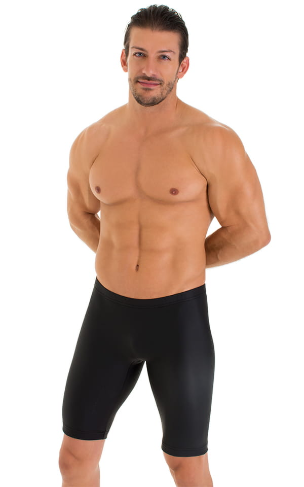 Lycra Bike Length Shorts in Matte Black Neoprene 1