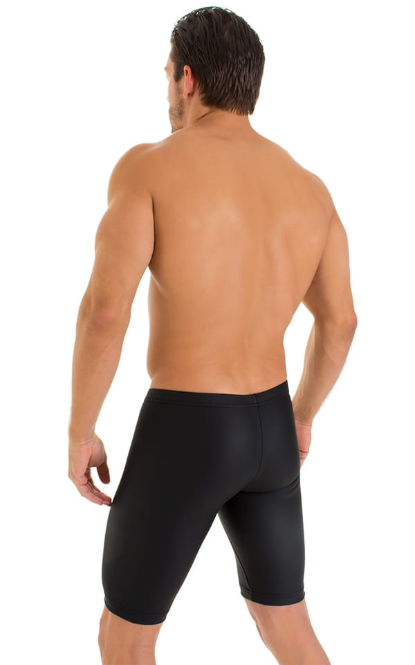 Lycra Bike Length Shorts in Matte Black Neoprene 3