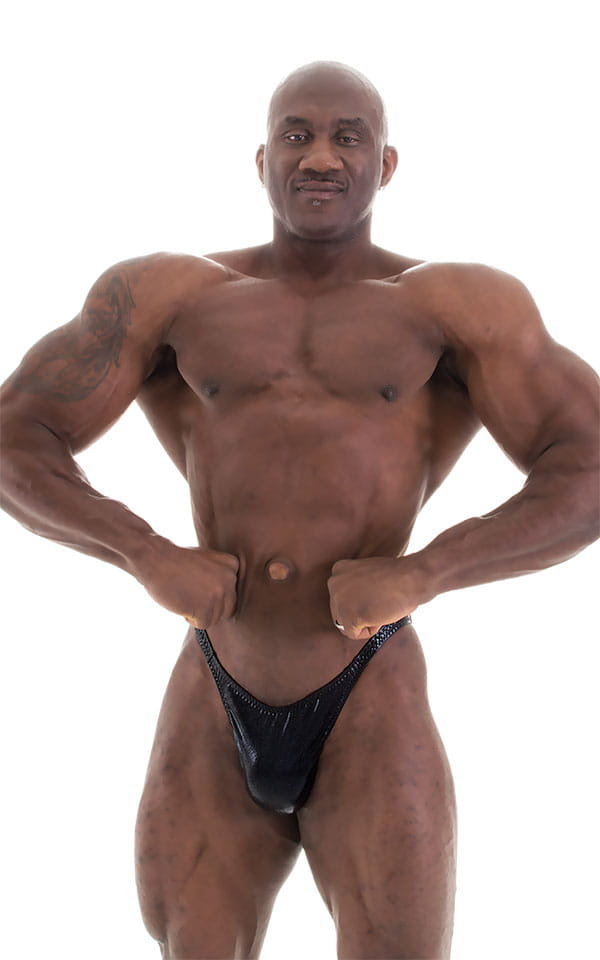Bodybuilder Posing Suit - Narrow Back in Metallic Black 4