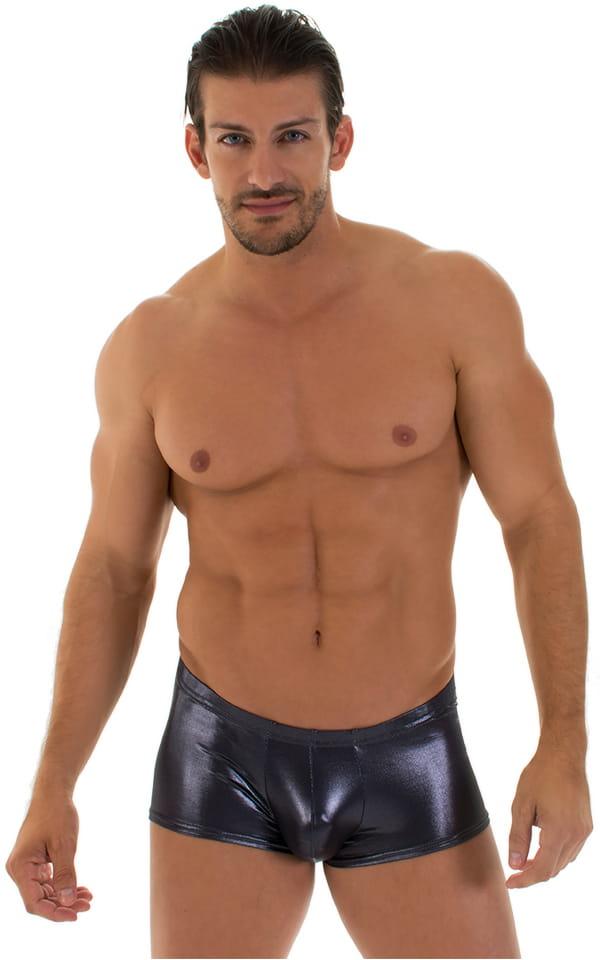 mens silvwer metallic square cut swim trunks