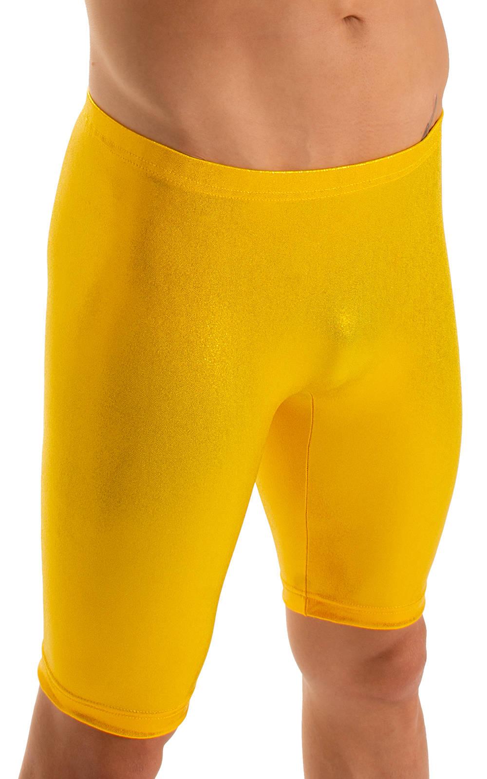 Lycra Bike Length Shorts in Metallic Mystique Chartreuse 3