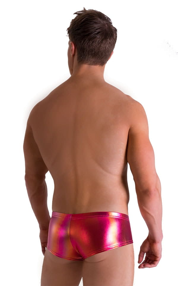Pouch Enhanced Micro Square Cut Swim Trunks in Metallic Sunset Ombre 2