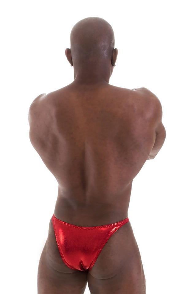 Bodybuilder Posing Suit - Narrow Back in Metallic Volcano Red 6