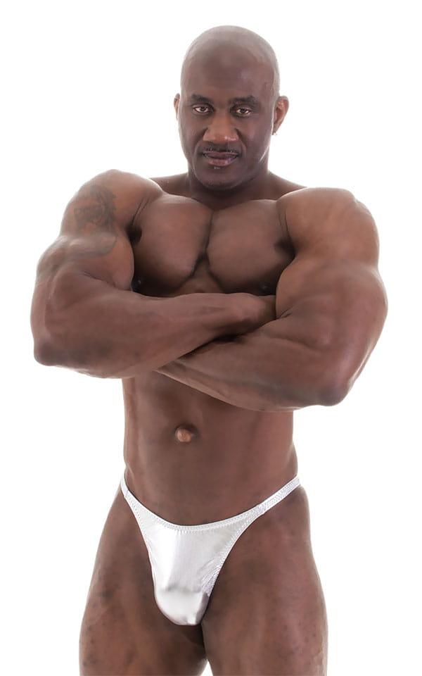 Bodybuilder Posing Suit - Narrow Back in Liquid Silver 1