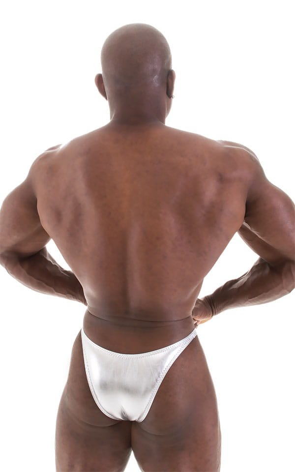 Bodybuilder Posing Suit - Narrow Back in Liquid Silver 3