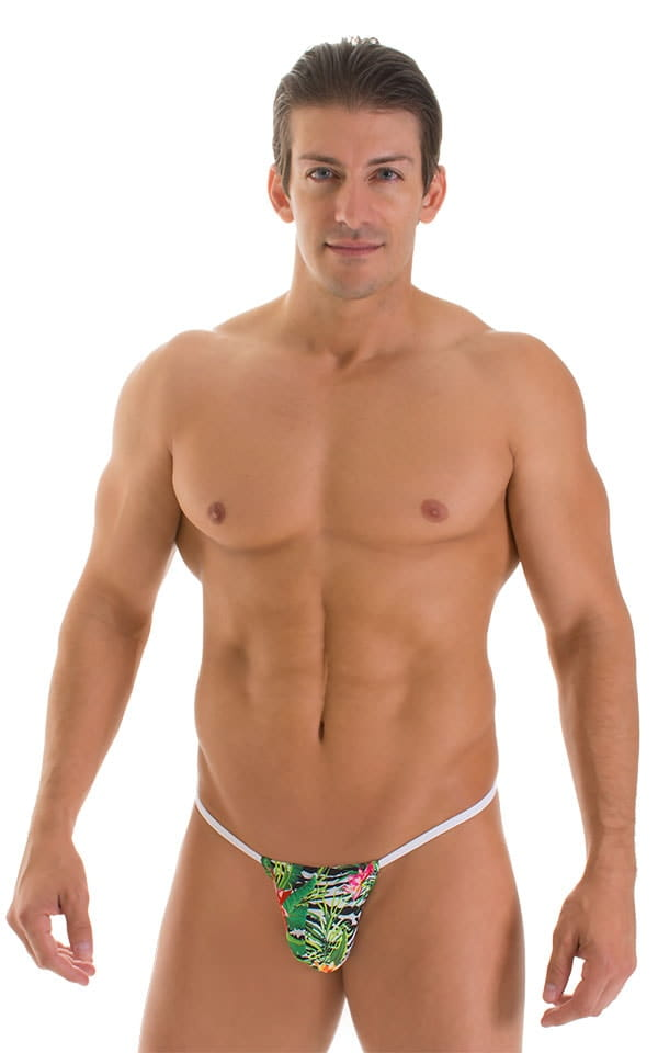 G String Swimsuit - Adjustable Pouch in Super ThinSKINZ Exotic Tropics with White Strings  4