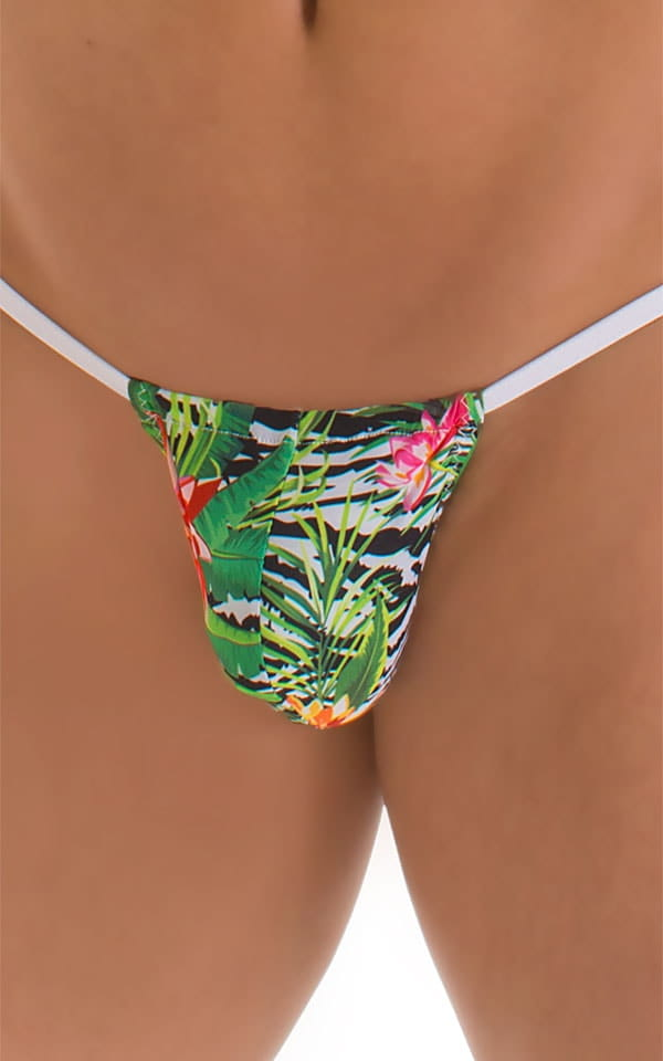 G String Swimsuit - Adjustable Pouch in Super ThinSKINZ Exotic Tropics with White Strings  5