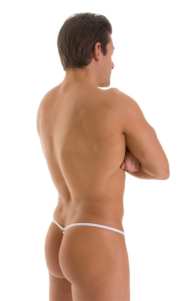 G String Swimsuit - Adjustable Pouch in Super ThinSKINZ Exotic Tropics with White Strings  2