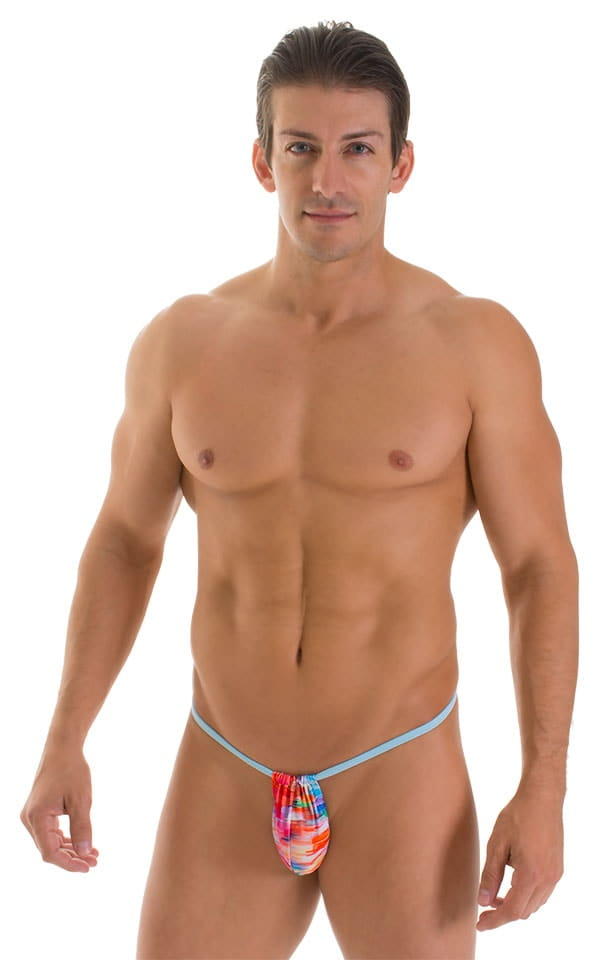 G String Swimsuit - Adjustable Pouch in Watercolor Strokes with Baby Blue Strings  1