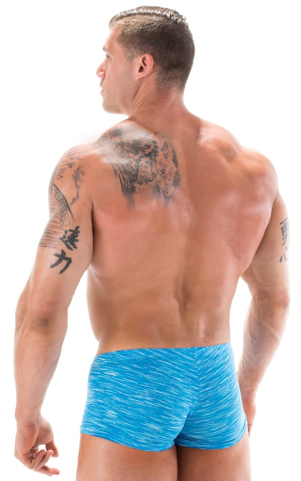 Extreme Low Square Cut Swim Trunks in Aqua Royal Swim Strata 3