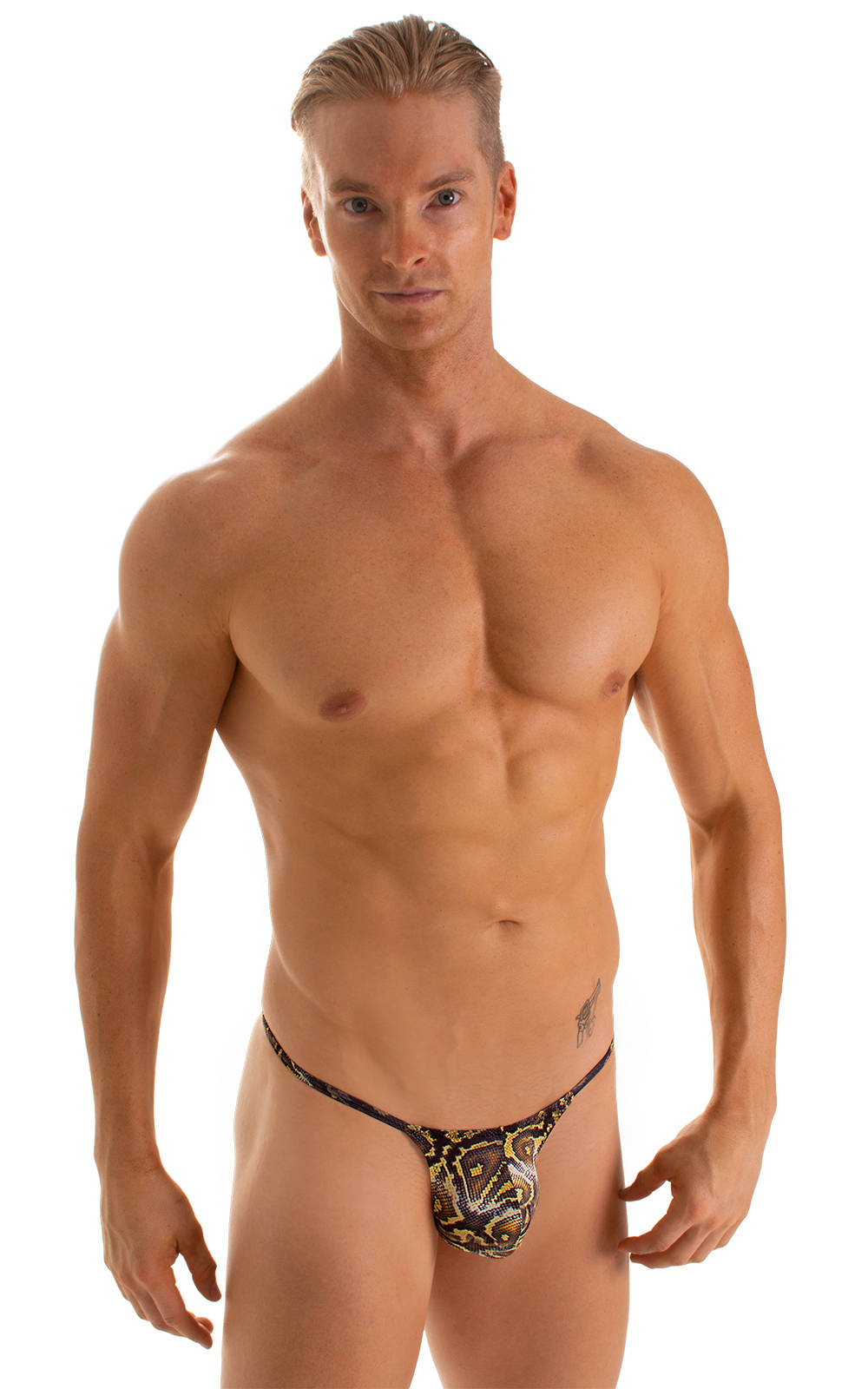 Stuffit Pouch G String Swimsuit in Super ThinSkinz Coiled Python 1