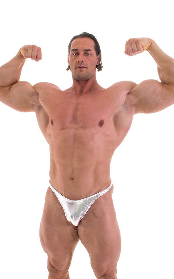 Bodybuilder Posing Suit - Narrow Back in Liquid Silver 6