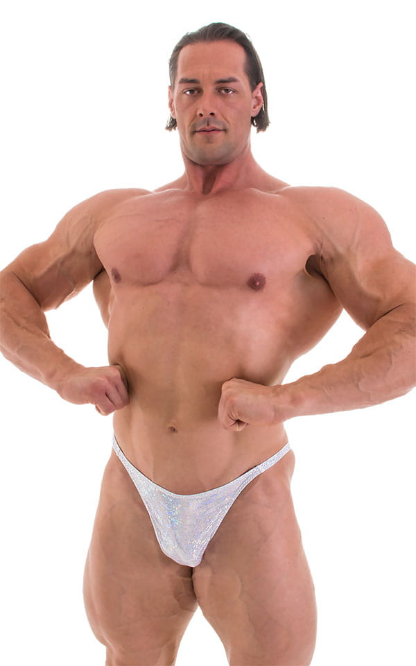 Bodybuilder Posing Suit - Narrow Back in Holographic White Silver 3