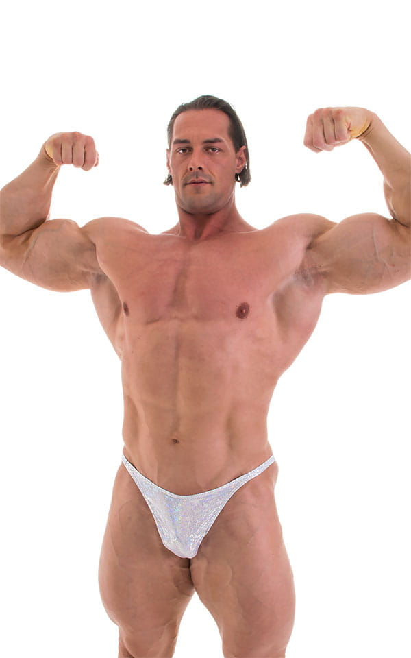 Bodybuilder Posing Suit - Narrow Back in Holographic White Silver 4
