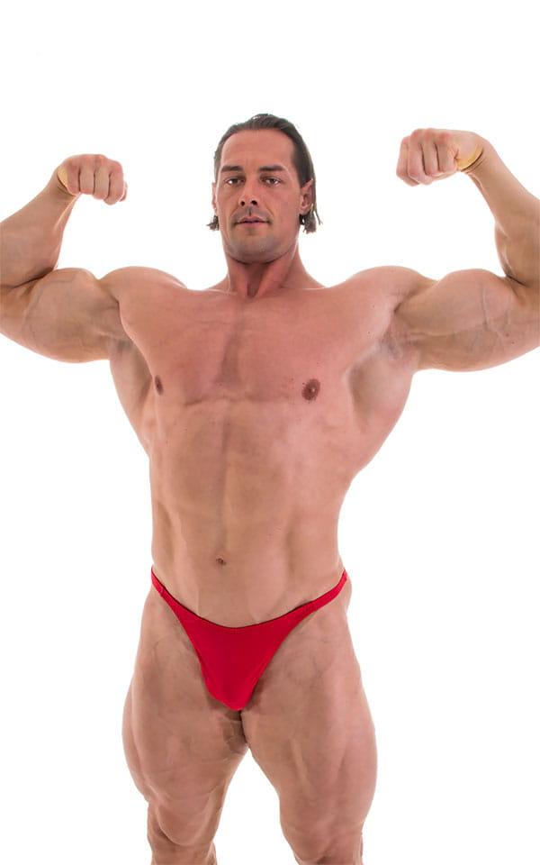 Bodybuilder Posing Suit - Narrow Back in Wet Look Lipstick Red 5