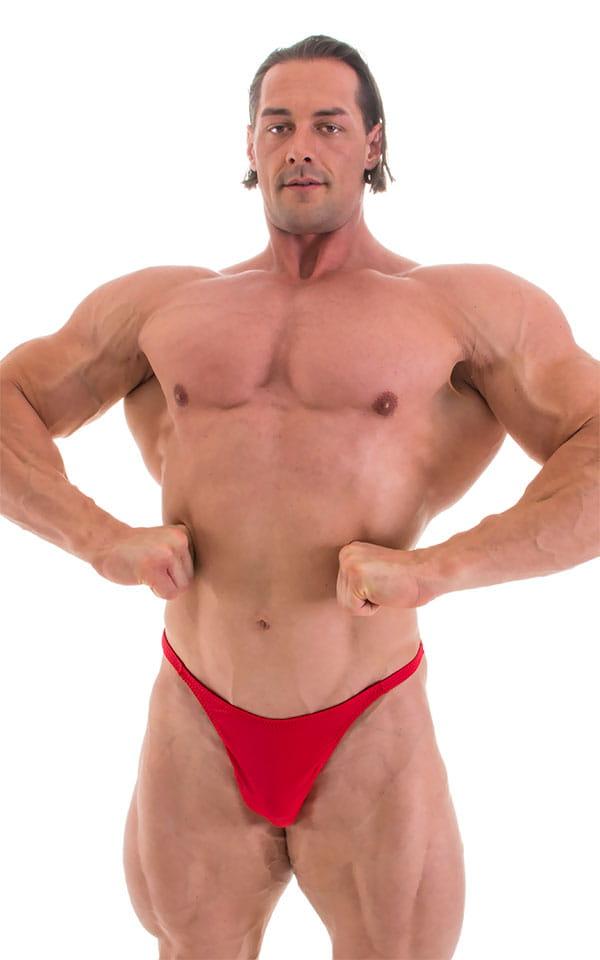 Bodybuilder Posing Suit - Narrow Back in Wet Look Lipstick Red 4