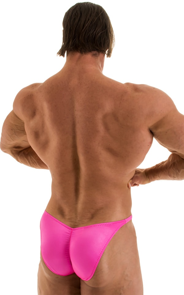 Fitted Pouch - Puckered Back - Posing Suit in Wet Look Hot Pink 6